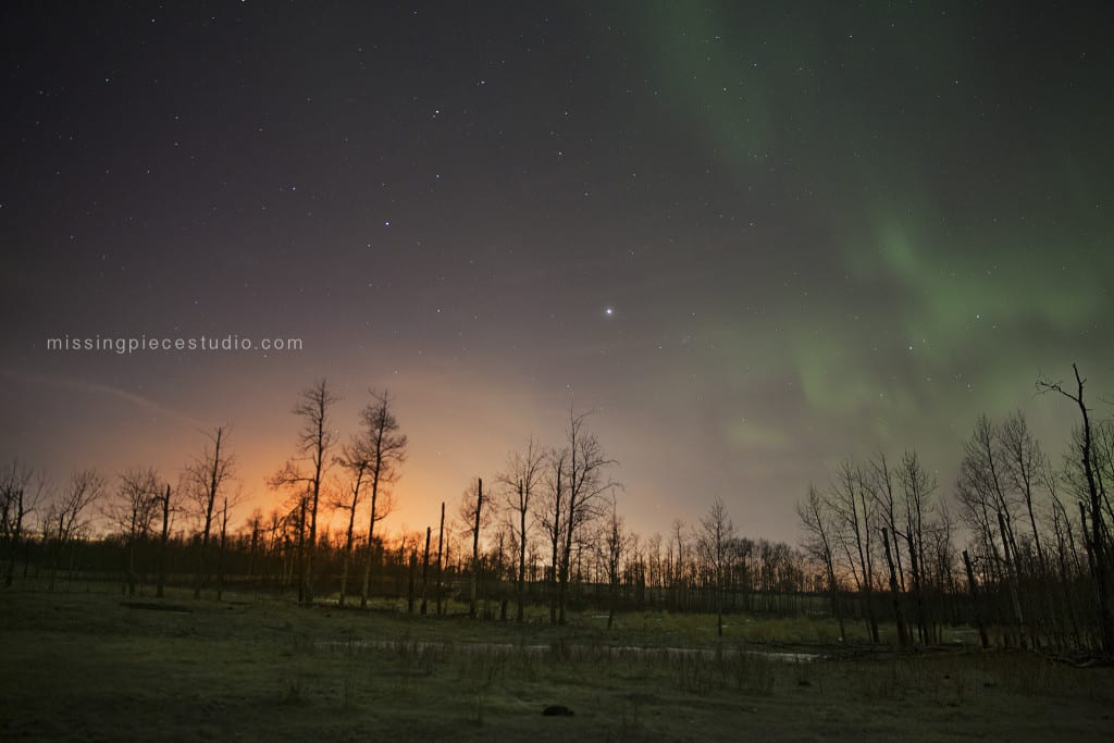 Northern lights aurora borealis) taken on a cold winter night at Elk Island in National Park